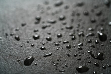 Slate Surface With Water Drops Macro Shot, Shallow Focus