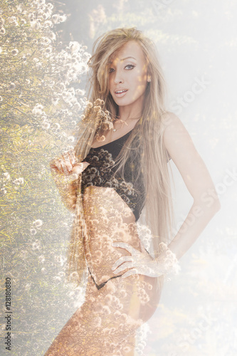 Photographie  Double exposure of beautiful girl with long hair and flowers