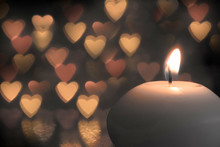 Candle On Bokeh Hearts Background. Vintage Style.
