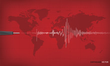 Seismic Activity Graph Showing An Earthquake On World Map Backgr