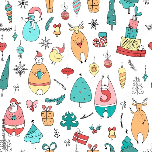 Cotton fabric Cute Christmas and New Year seamless pattern. Holiday elements:Santa, deer, noel, gift, ball, snowflake, bear, noel.