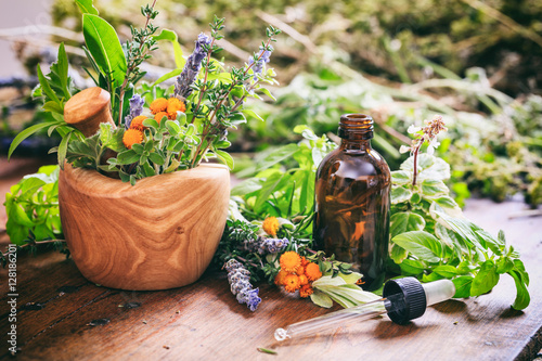 Photo  Variety of herbs and mortar on wooden background