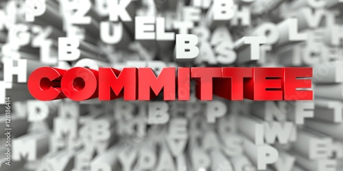 Fotografie, Obraz  COMMITTEE -  Red text on typography background - 3D rendered royalty free stock image