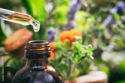 Photo  Variety of herbs and dropper