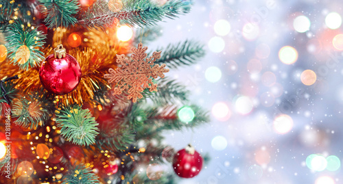 Christmas Ornaments Background.Christmas Tree Background And Christmas Decorations With