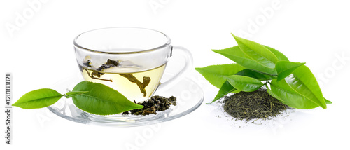 Photo sur Toile The cup of green tea on white background