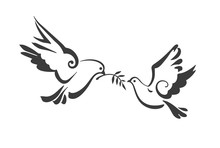 Christian Dove, Symbols Of Peace Isolated On White. Vector Template For Design