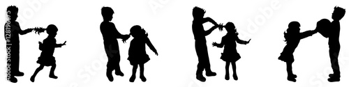 Vászonkép boy and girl silhouette
