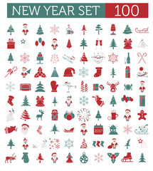 Christmas, New Year holidays icon big set. Red and green colours
