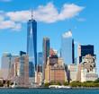 The skyline of lower Manhattan seen from the New York Harbor