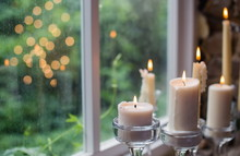 White Candles In Glass Holders...
