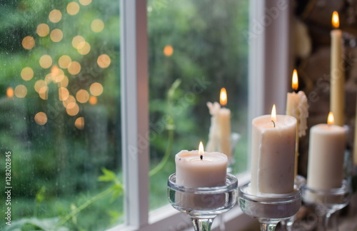 White Candles In Glass Holders Beautiful Rustic Wedding Decoration