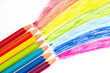 Color pencils with rainbow
