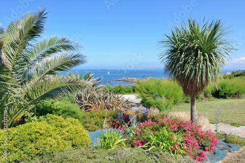 Papiers peints Jardin La végétation avec vue sur la mer dans le parc de la chapelle Sainte-Barbe à Roscoff en Bretagne