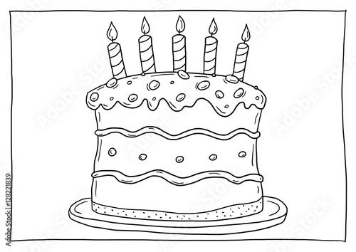 Ausmalbild Geburtstagstorte Kaufen Sie Diese Illustration Und