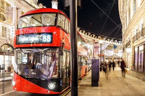 Poster Londres bus rouge Christmas lights 2016 in London