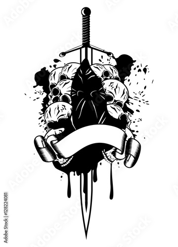 Vector illustration executioner sword and skull logo Fototapet