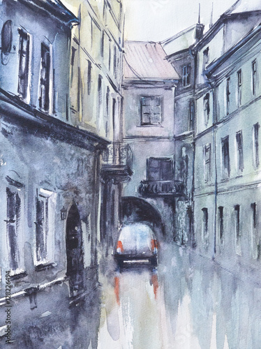Old city street at rainy day.Picture created with watercolors.