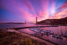 Horseshoe Bay And The Golden Gate Bridge In San Francisco Bay, California.