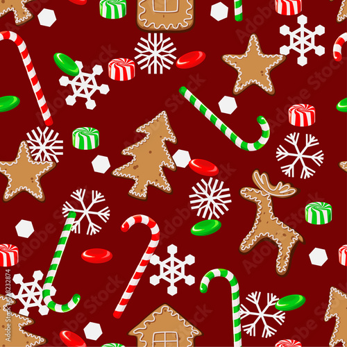 Cotton fabric Seamless pattern with Christmas candies, cookies and snowflakes on a red background.
