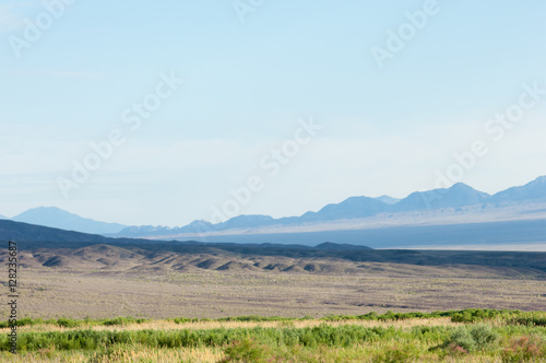 Tuinposter Lichtblauw steppe summer. Turgai save. Lake in the desert