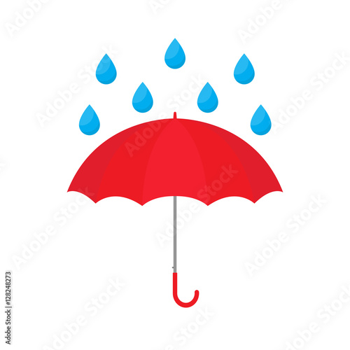 Red umbrella with raindrop vector