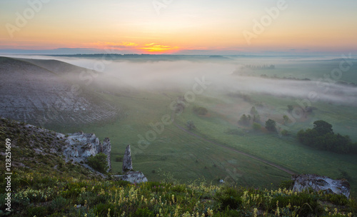 Printed kitchen splashbacks Khaki landscape of dense fog in the field at sunrise