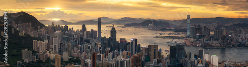 Sunrise ( day to night shot) over Victoria Harbor Poster Mural XXL