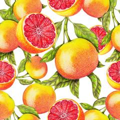 Fototapeta Owoce Seamless pattern of hand drawn grapefruit