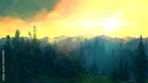 Tuinposter Zwavel geel Sunset in the forest. Beautiful natural landscape in the summer time