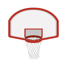 Silhouette Colorful With Rounded Basketball Hoop Vector Illustration