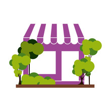 Silhouette With Purple Supermarket And Trees On The Sidewalk Vector Illustration