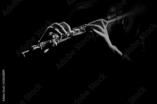 Photo sur Aluminium Musique Flute instrument Hands playing flute music
