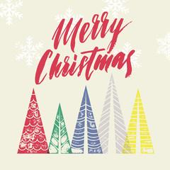 Fototapeta Boże Narodzenie/Nowy Rok Winter forest background with Christmas trees greeting card