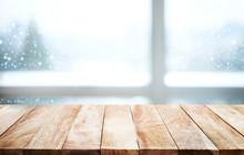 Empty Wood Table On Blur Windo...