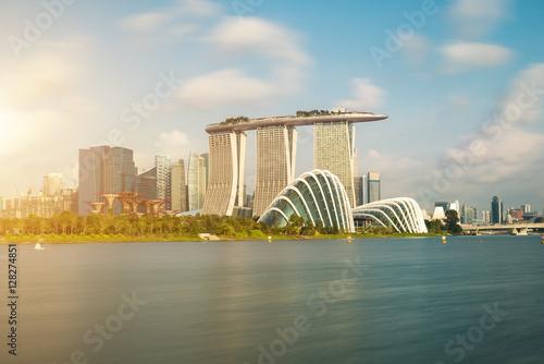 Plagát  Singapore skyscraper building at Marina Bay in morning, Singapor