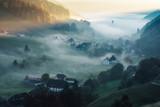 Sceniczny jesień góry krajobraz przy zmierzchem. Widok na zabytkową wioskę w Niemczech, Schwarzwald. Kolorowy marzycielski podróży tło. - 128277803