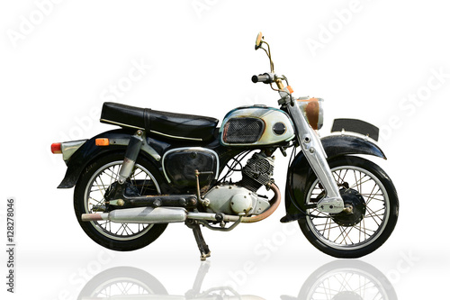 Tuinposter Fiets Classic Motorbike isolated on white background. The Vintage old motorcycle.