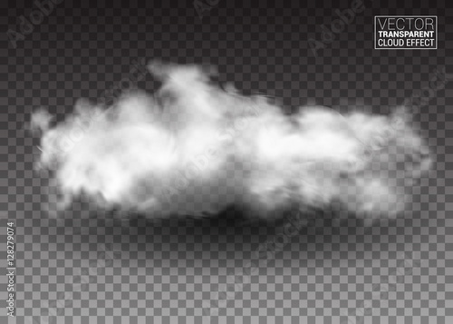 Fluffy white clouds. Realistic vector design elements. smoke effect on isolated transparent background. Vector illustration