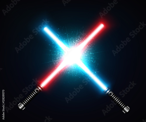 Photo  Two crossed laser swords fight red and blue