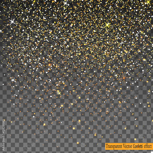 Cuadros en Lienzo Falling Shiny Gold Glitter Confetti isolated on transparent background