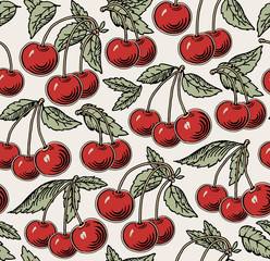 Panel Szklany Owoce Cherry ripe on the tree isolated. Red cherry. Engraving, drawing. Freehand. Flora. Vintage vector realistic illustration. Background seamless. Wallpaper baroque Vector victorian style Illustration.