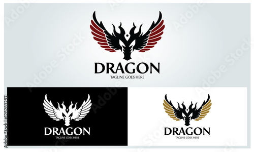 dragon logo design template vector illustration buy this stock