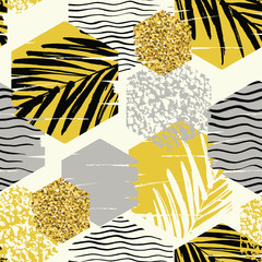 FototapetaSeamless exotic pattern with palm leaves on geometric background