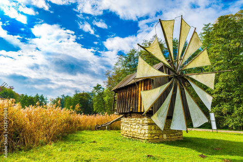 Photo Stands Eastern Europe Windmills in the Astra Ethnographic Museum,Sibiu, Romania, Europe