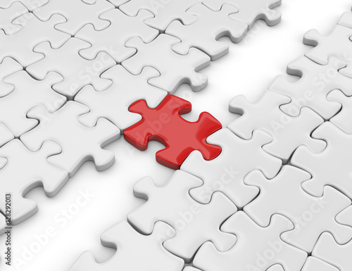 tassello puzzle che unisce Fotobehang