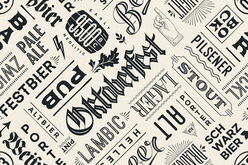 FototapetaSeamless black and white pattern with types of beer and hand drawn lettering for Oktoberfest Beer Festival. Vintage drawing for placemat, bar menu, t-shirt print and beer themes. Vector Illustration