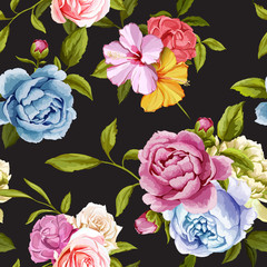 Panel SzklanyPeony and roses with leaves. Seamless background pattern. Vector - stock.
