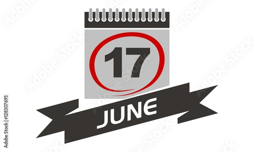 Fototapety, obrazy: 17 June Calendar with Ribbon