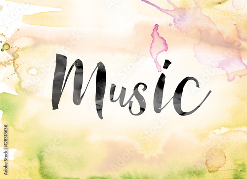 Music Colorful Watercolor And Ink Word Art Kaufen Sie Diese